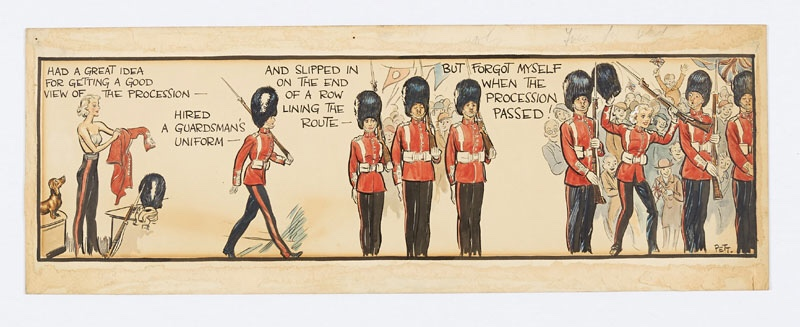 Jane original colour artwork, painted and signed by Norman Pett (1937) for the Coronation Day issue of the Daily Mirror 13 May 1937 This piece was later exhibited at the 1939 Birmingham Exhibition From the Bob Monkhouse archive