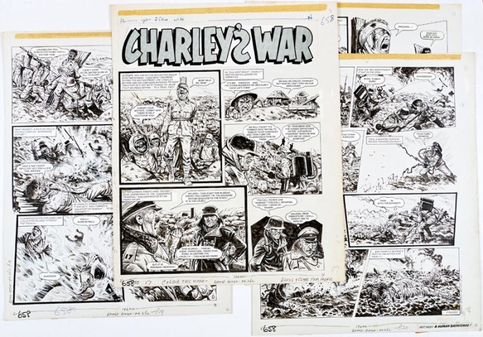 Charley's War: Four original artworks by Joe Colquhoun from Battle-Action 269 (1979), forming a complete episode. The German 'Judgement Troopers' seize the British front line in October 1916 tying wounded British soldiers to the stake, exposing them to a counter attack which Charley Bourne and the Westshires ignore, charging headlong into the Boche flamethrowers... Indian ink on cartridge paper. 17 x 15 ins each (4)