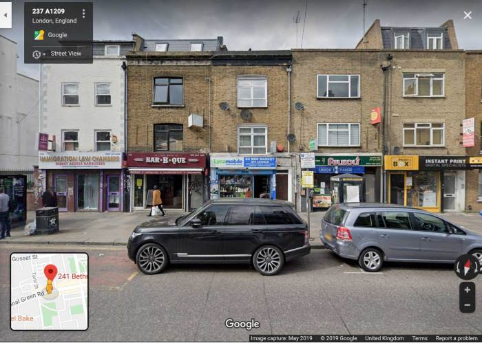 Google Maps: 241 Bethnal Green Road - May 2019