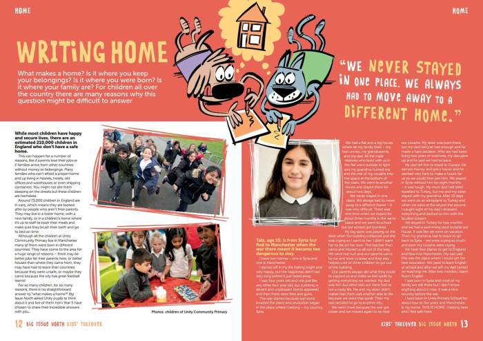 A spread from Big Issue North 1316, including art by Marc Jackson, courtesy of Big Issue North