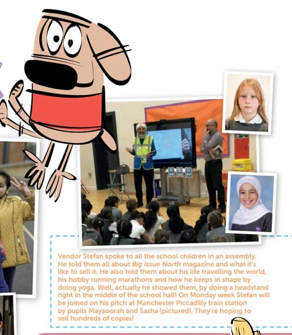This clipping from the new issue of Big Issue North (Issue 1316) shows street vendor Stefan talking to all the school children of Unity Primary in an assembly. Clip courtesy of Big Issue North