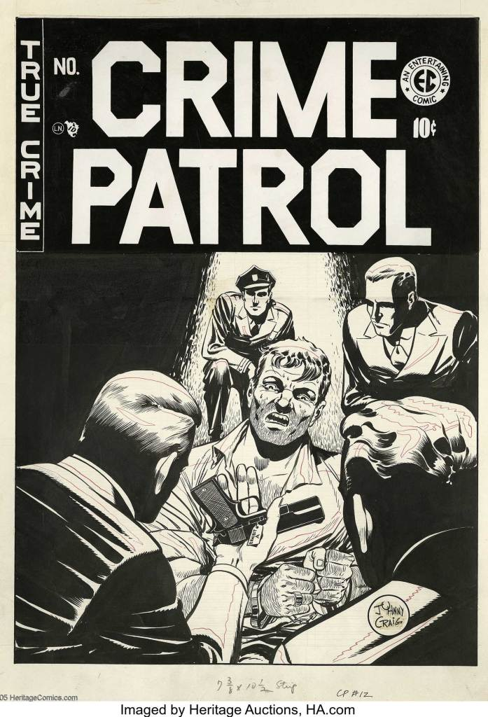 "Johnny Craig - Crime Patrol #12 Cover Original Art (EC, 1949), sold by Heritage Auctions in 2005 for $5,750. Few artists could capture a sweaty, fearful expression as convincingly as Johnny Craig -- limning the peak moment of fear and loathing was one of Craig's hallmarks. Regarding Craig's renowned precision, William Gaines told The Comics Journal, ""He would take an entire month to write and draw one story. It was just his nature. A lot of guys in comics bat stuff out; Johnny never did. Everything had to be perfect."" Image: Heritage Auctions"