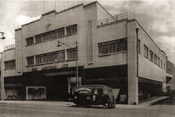 Lancaster-based Pye Motors Art Deco show room in the 1940s. Photo via local historian Andrew Reilly