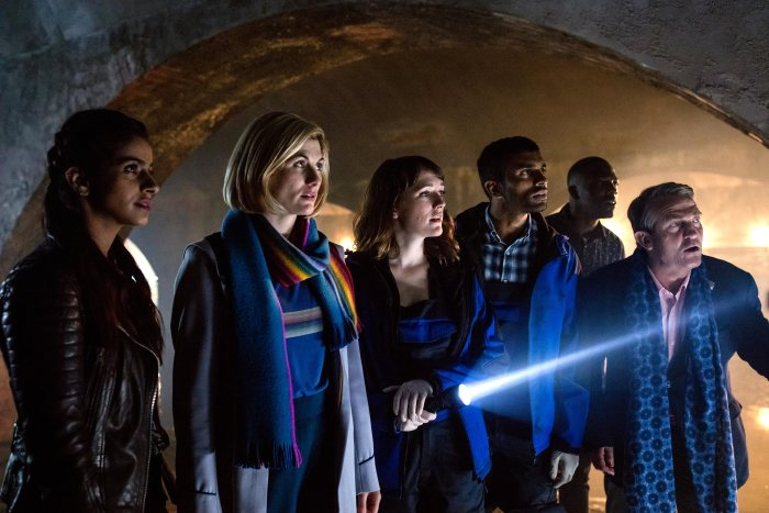 Yaz (Mandip Gill), The Doctor (Jodie Whittaker), Lin (Charlotte Ritchie), Mitch (Nikesh Patel), Ryan (Tosin Cole), Graham (Bradley Walsh) in Doctor Who - Orphan 55. Image: BBC