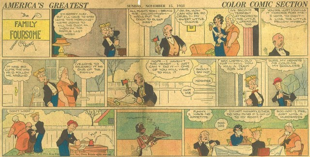 """Chic Young's """"The Family Foursome"""" (15th November 1931), a topper strip which ran with """"Blondie"""" from 21st September 1930 to 21st April 1935."""