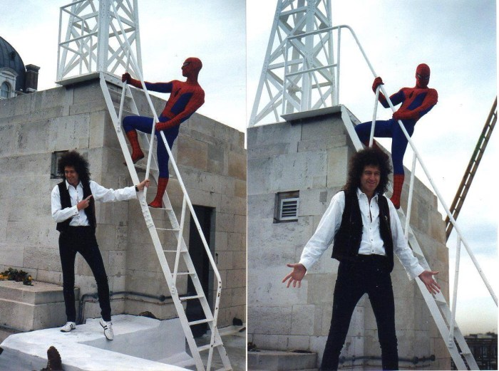 Brian May and Spider-Man atop BBC Broadcasting House back in early 1995. Photos courtesy Tim Quinn