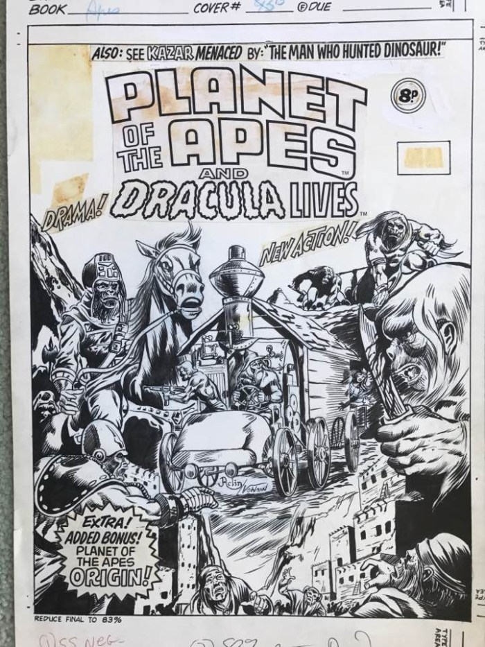 Planet of the Apes #93 cover by Jeff Aclin, inked by Duffy Vohland