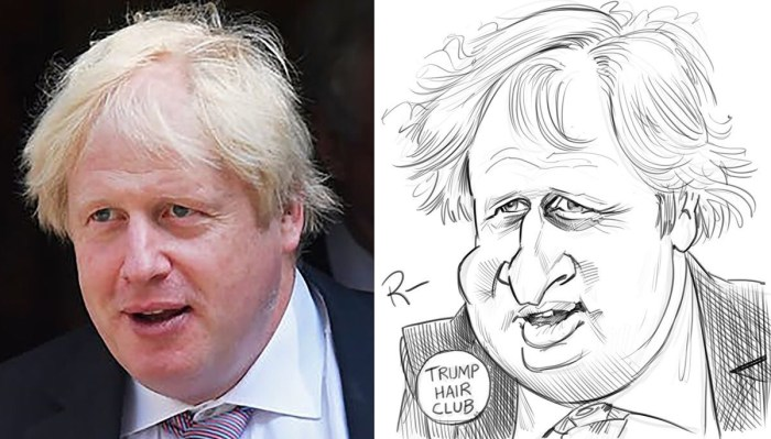 "Boris Johnson, one of Tom Richmond's ""warm up"" caricatures"