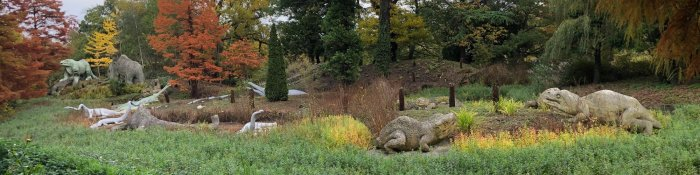 A panorama of the Crystal Palace Dinosaurs. Photo: Friends of Crystal Palace Dinosaurs