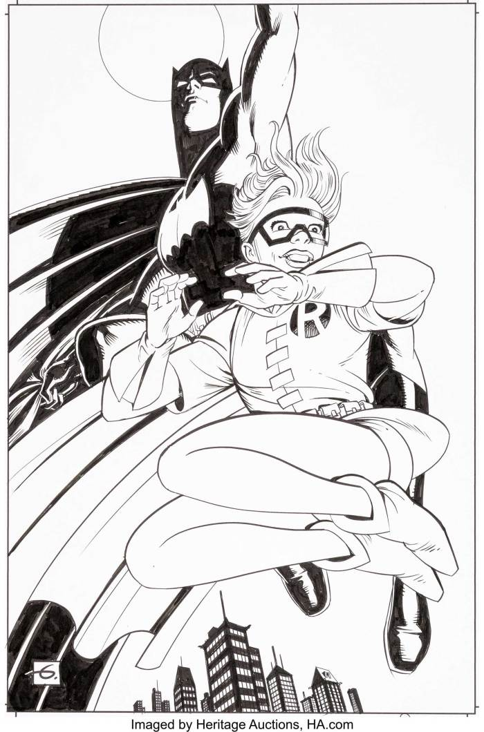 Dave Gibbons The Dark Knight III: The Master Race Retailer Incentive Variant Cover Original Art (DC Comics, 2016). Gibbons gives us a different angle on the leap seen on the classic splash page from Frank Miller's original Dark Knight Returns #3. Carrie Kelley known for being the first full-time female Robin in the history of the Batman franchise, takes the front stage as she leads her hero and boss into the night