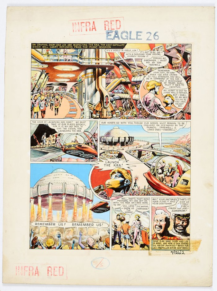 Dan Dare original artwork (1956) drawn and painted by Frank Hampson for The Eagle Volume 7: No 26, from the Bob Monkhouse Archive