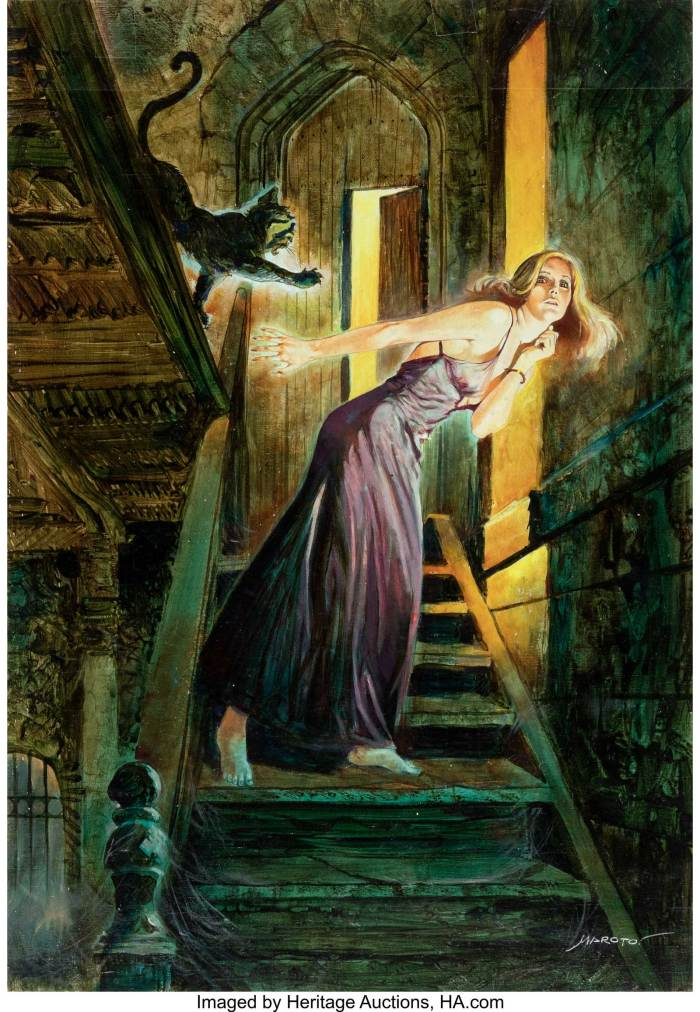 "Esteban Maroto ""The Cat with the Golden Mask"" Painting Original Art (c. 1990s). A gorgeous oil painting in the Gothic Horror tradition"