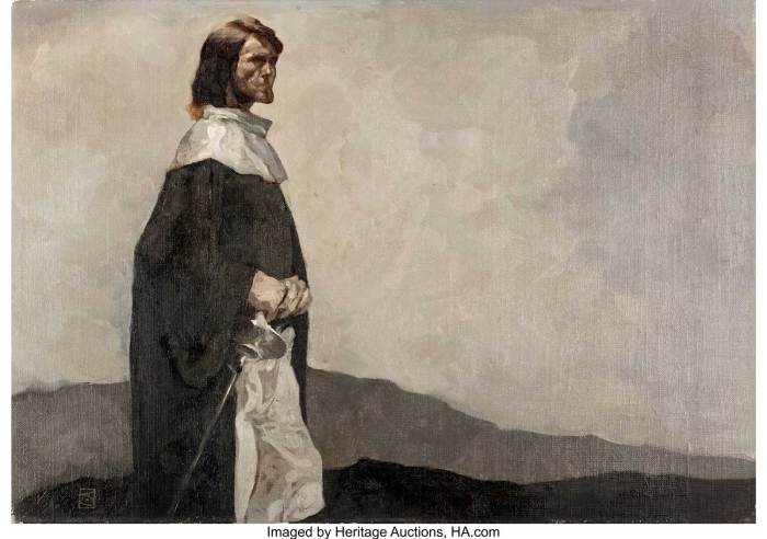 Jeff Jones - Solomon Kane Painting Original Art (c. 1975). Robert E. Howard's puritanical swordsman/adventurer is well captured in this somber piece by Jeffrey Catherine Jones. Early works by this artist are always highly prized by collectors and fans