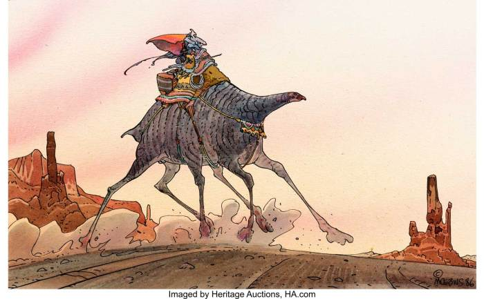 Moebius (Jean Giraud) Moebius: Made in L.A. Page 77 Arzach Sci-Fi Illustration Original Art (Casterman, 1988). Arzach rides a crazy six-legged camel-like creature... as only Moebius could design
