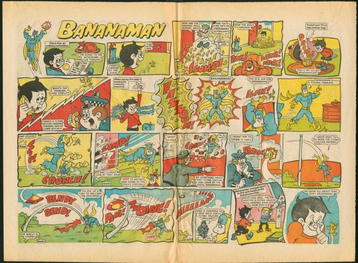 "A ""Bananaman"" spread from an unknown issue of Nutty. In early issues the character featured as a single back page strip, but later ousted ""Wold Rovers"" from the centrespread"