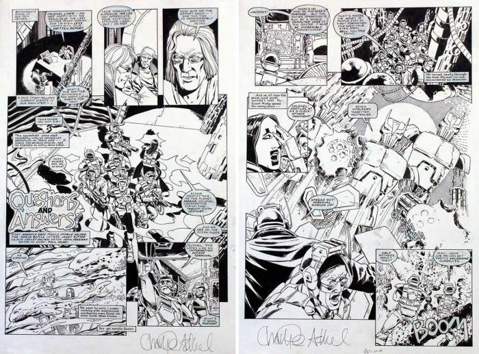 "Two pages from the the Warheads story ""Questions and Answers"", writer Scott Gray's first superhero strip for Marvel UK, pencilled by Charlie Adlard and inked by Adolfo Buylla. The strip first appeared in Overkills and then ran as a back up strip in Warheads #9"