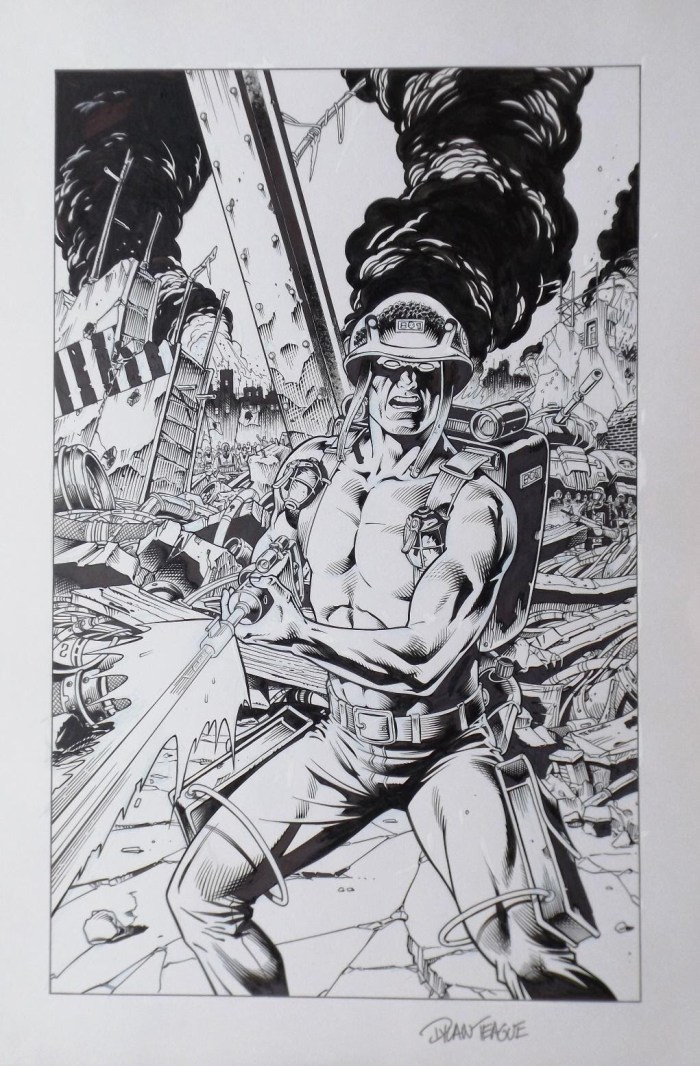 Art by Dylan Teague for the cover of the Rogue Trooper novel, Crucible