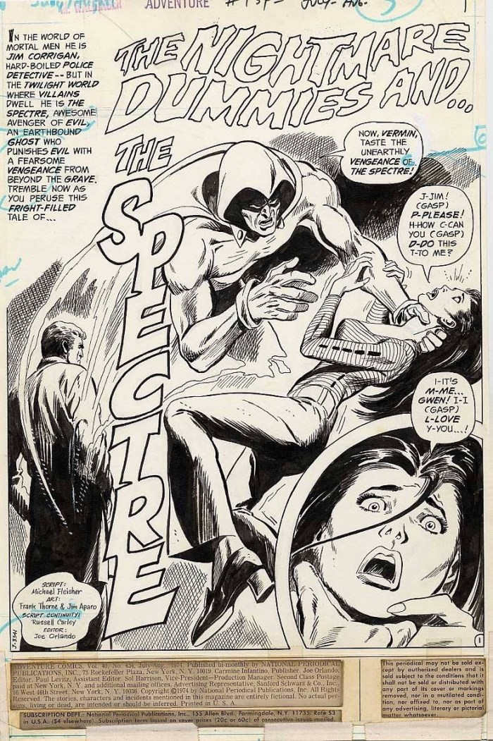 A classic Spectre splash from Adventure 434 drawn by Frank Thorne and inked by Jim Aparo