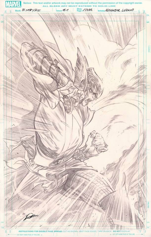 Pencils for the variant cover for Empyre #1 by Alexander Losander