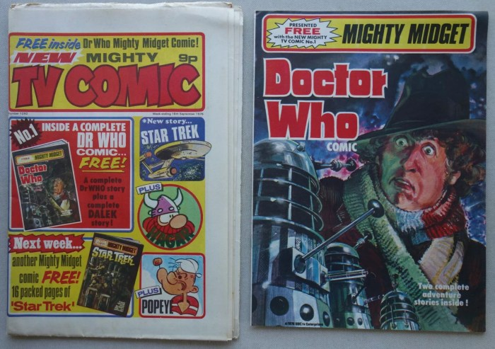 TV Comic Issue 1292, cover dated 18th September 1976, with free gift Doctor Who comic