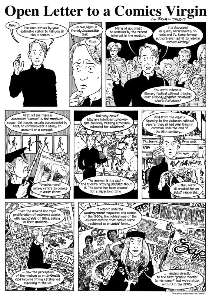 An Open Letter to a Comics Virgin - published in early in 2013, especially commissioned by The Author magazine to introduce members of the Society of Authors to the comics form. Art by Bryan Talbot