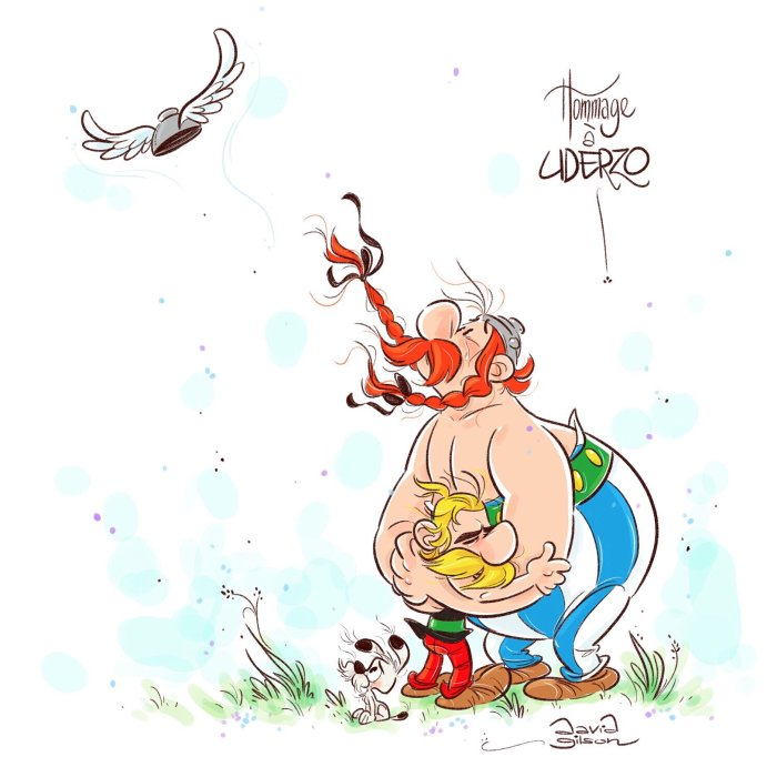 "A tribute to Albert Uderzo by David Gilson, author of the comic strip ""Bichon"" at Tchô / Glénat"