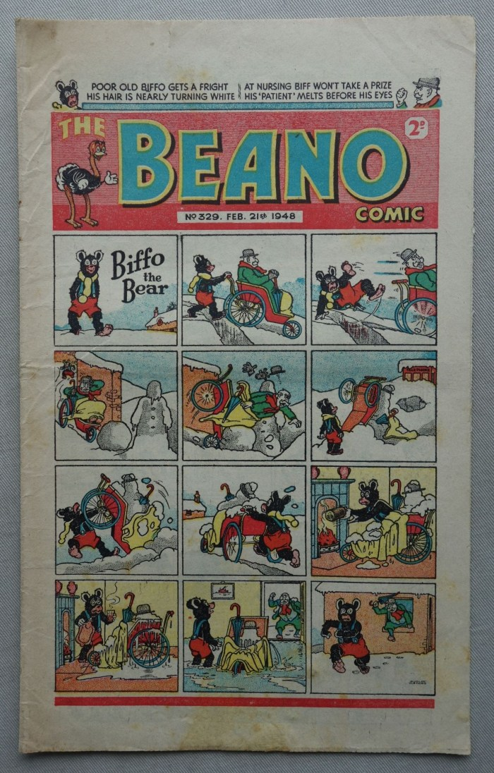 "Beano No. 329 cover dated 21st February 1948, featuring the third appearance of ""Biffo the Bear"""