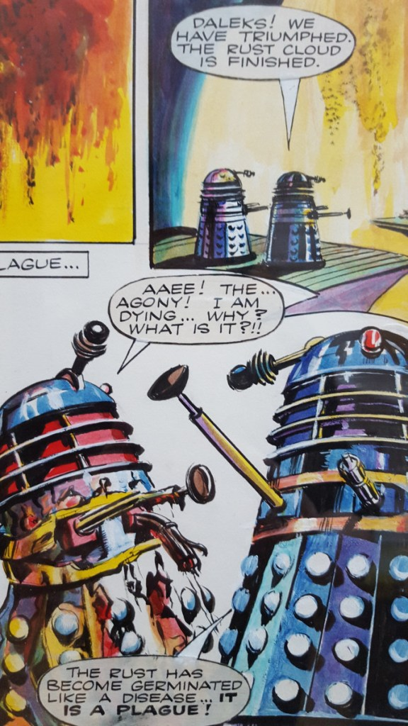 "Art from a page from ""The Daleks"" story now known as ""Plague of Death"" by Richard Jennings, from TV Century 21 Issue 37, published in 1965. The original artwork has previously been on display in the Cartoon Museum, London"