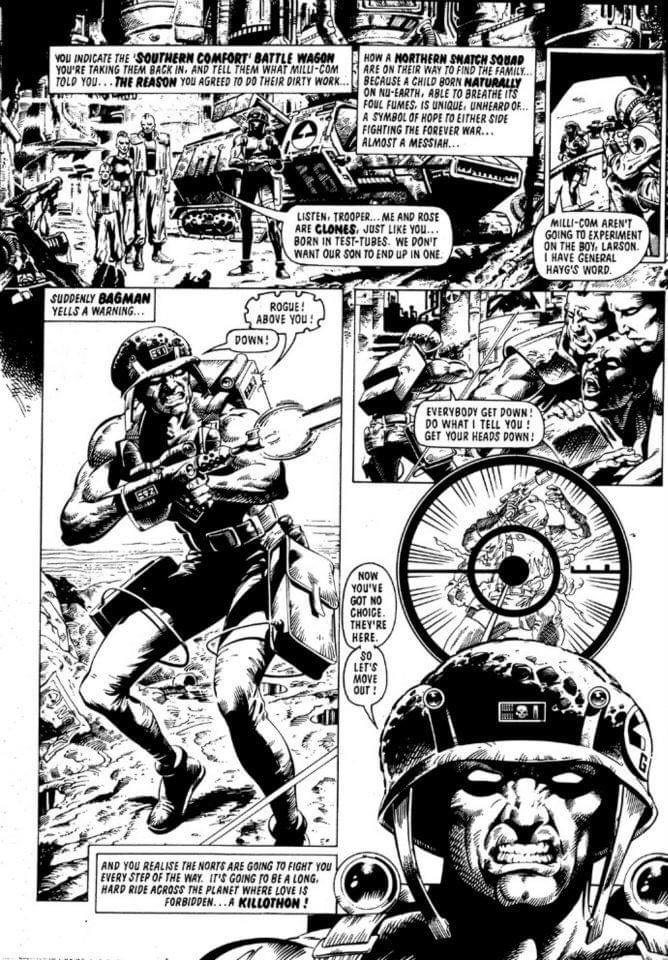 Mike Collins sample page that got him work at 2000AD, via Diceman. Inked by Mark Farmer