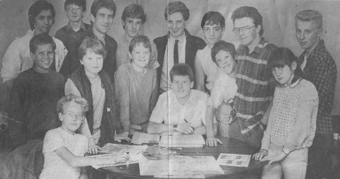 Where are they now? Aspiring comic creators at a 1980s workshop with Grant Morrison and Tony O'Donnell. Former first minister of Scotland Jack McConnell attended, too, in the middle, one person away from Graham Manley. ComicScene Magazine editor Tony Foster is one sitting in front.