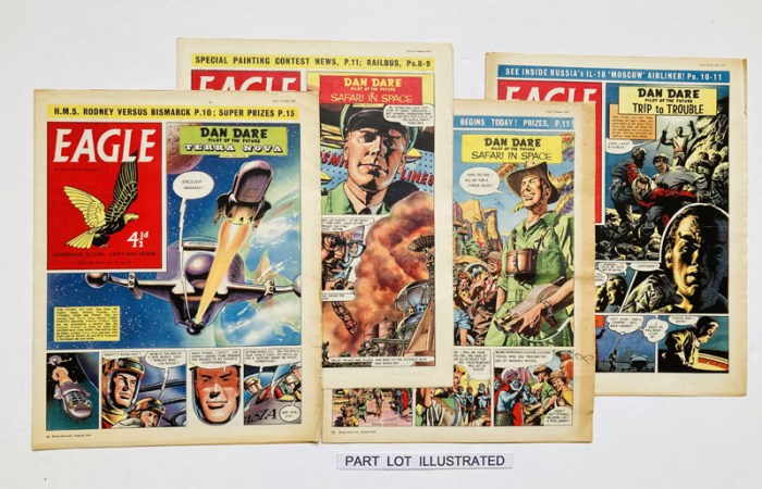 "Included in the auction - the complete year  of Eagle, Volume 10, published in 1959. Seven issues were lost to printers' strike in July and August that year. The issues include Dan Dare in ""Safari in Space"", ""Terra Nova"" and ""Trip To Trouble"" by Frank Hampson, with Frank Bellamy taking over the artwork during the Terra Nova story. ""The Shepherd King"", by Bellamy also features"