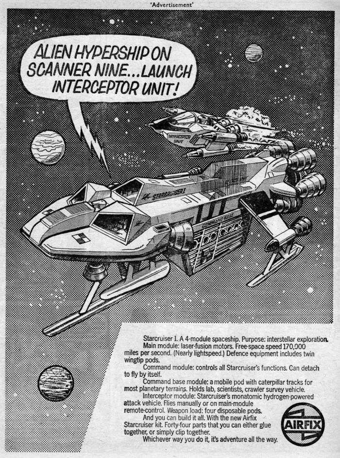 Airfix advert from Battle cover dated 9th December 1978 for Gerry Anderson's Starcruiser 1 with artwork based on the box art painted by Terry Hadler
