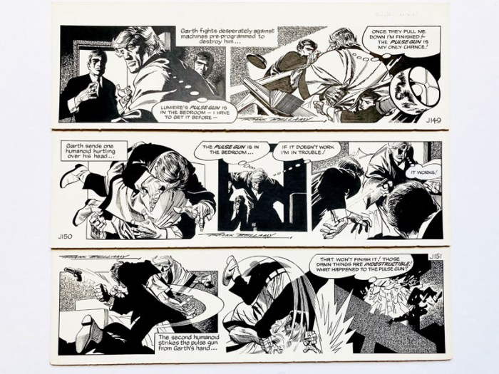 "Three original consecutive artworks for ""Garth: The Doomsmen"" (1976) drawn and signed by Frank Bellamy for the Daily Mirror 27th - 30th June 1976. Indian ink on board. 21 x 7 ins"