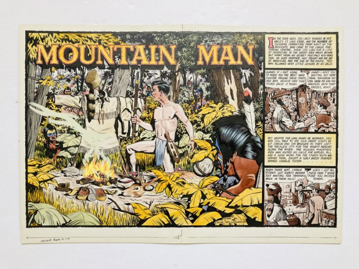 """Mountain Man"" original double page artwork (1956) drawn and painted by Denis McLoughlin from the Buffalo Bill Wild West Annual No 8, 1956. Fresh poster colours on board. 20 x 14 ins"