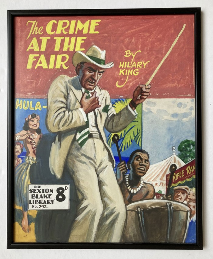 """Sexton Blake - The Crime at the Fair"" original cover artwork by Eric Parker for Sexton Blake Library No 292 (1940s) framed and glazed with original booklet"