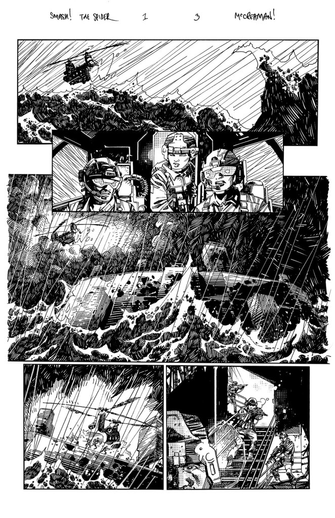 "Art from ""The Spider"" strip by John McCrea for the upcoming Smash! Special, script by Rob Williams"