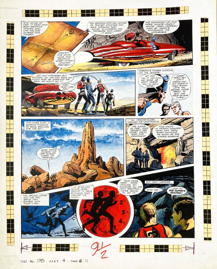 Thunderbirds original artwork (1968) drawn, painted and signed by Frank Bellamy for TV21 No 176. Two marathon runners are kidnapped by Lavan Morgan. Scott Tracy tracks them down to the Atlas Mountains in North Africa… and is also captured. Under pain of death they must race to retrieve the long lost pirate gold before the volcano explodes… Bright Pelikan inks on board. 15 x 18 ins