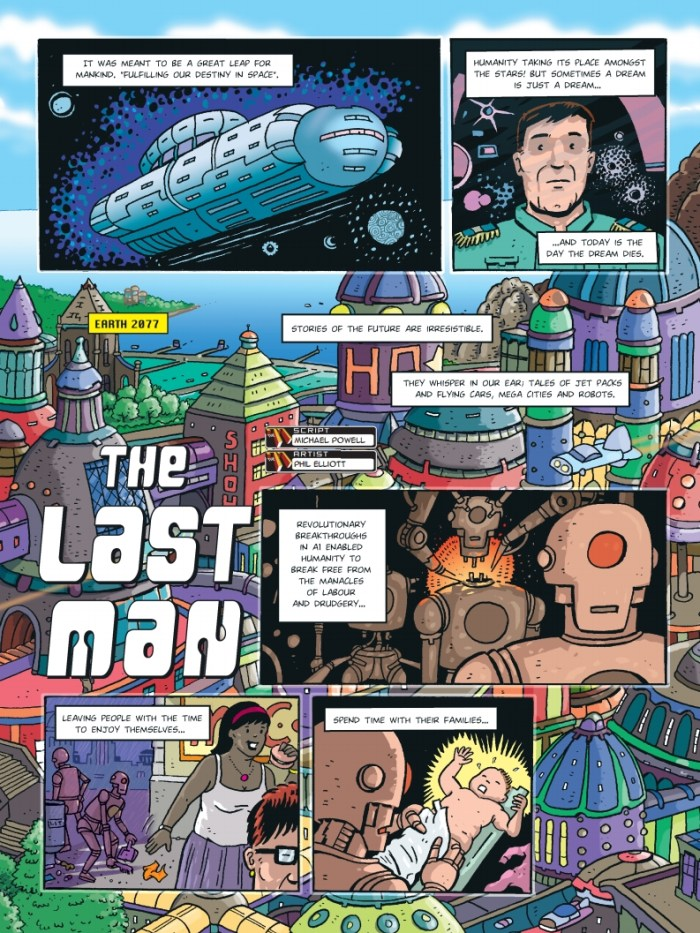 "The opening page of ""The Last Man"", written Mike Powell, with art by Phil Elliott"