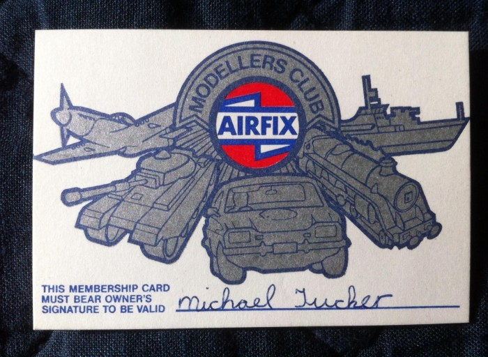 """Airfix Modellers Club - Membership Card, owned by """"Michael Tucker"""" - now better known as top visual effects artist  MIke Tucker, whose credits include Doctor Who and much more"""