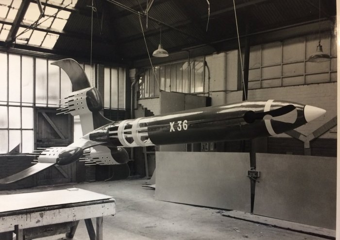 One of the Boys and Girls Exhibition spaceships in the workshop