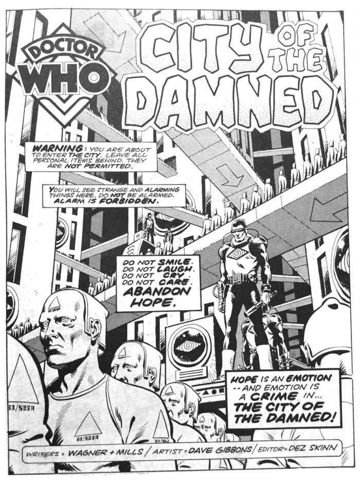 "The opening page of ""Doctor Who - City of the Damned"", from Doctor Who Weekly #9. Art by Dave Gibbons"
