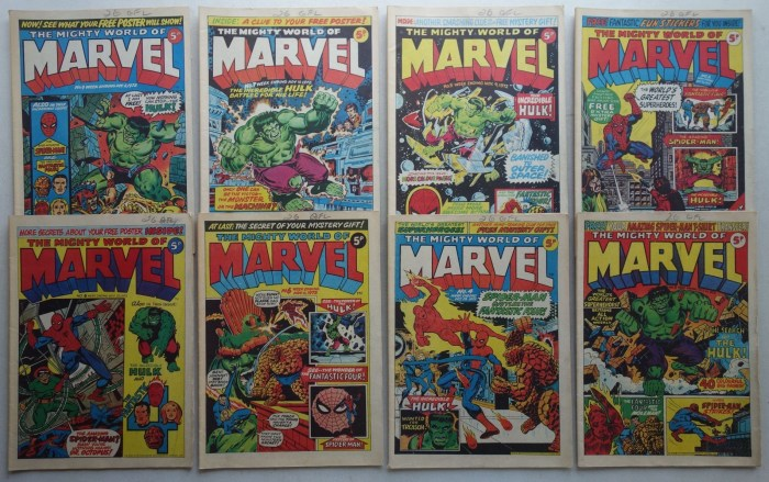 Mighty World of Marvel comic #2-9 (1972)