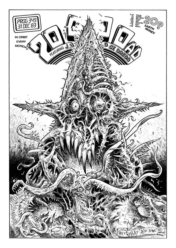 """Kev Crossley's homage to 2000AD Prog 349 by Kev O'Neill. """"By Grud, I love that cover,"""" says Kev."""