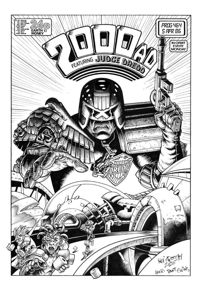 "Kev Crossley's homage to 2000AD Prog 464 by Brett Ewins. ""'This one also serves as Part One of my long overdue homage series to the great Brett Ewins.,"" says Kev. ""I never got a chance to meet him, but I loved his work on Rogue, Dredd, Bad Company and Anderson. ""I loved the cover he did for prog 464, so I re-worked his original composition, and created a whole new set of building structures. After producing the initial sketch I didn't refer to Brett's version again, and inked it 'blind'. Some kind folk compared my inking on this to early Bryan Talbot, which was humbling to hear, but I can't actually say where my inking style really comes from here. ""But.. here's to Brett.. one of my heroes… (hope you'd approve mate!)"""