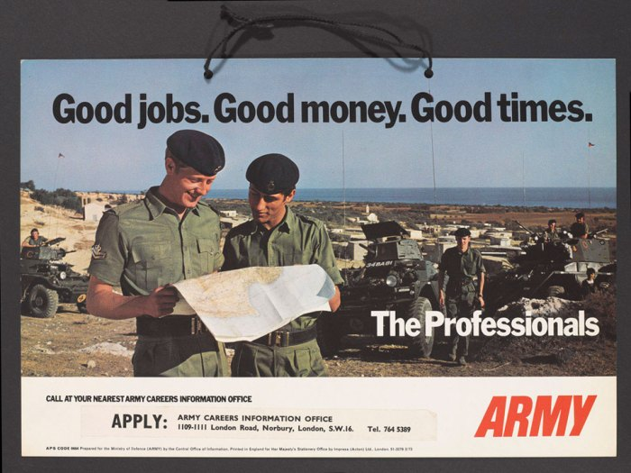 "Advertisement like this ""Good Times"" poster were no longer helping British Army recruitment back in 1973, who turned to comics to find out why. Image via the National Army Museum"