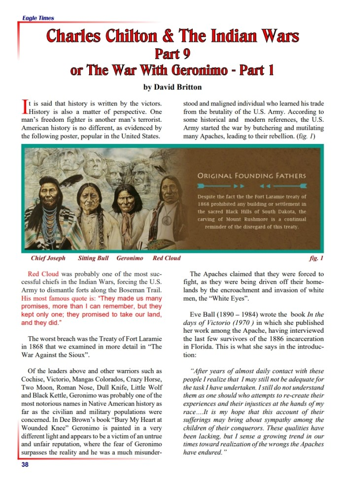Eagle Times Volume 33 No. 2 - Charles Chilton and the Indian Wars: Part One