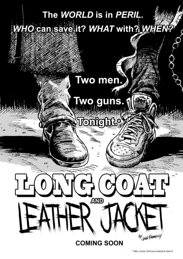 Long Coat and Leather Jacket by John Farrelly Poster