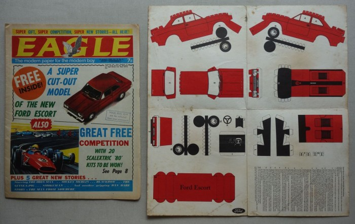Eagle Volume 19 No. 4 - cover dated 27th January 1968 with Ford Escort stamp out gift