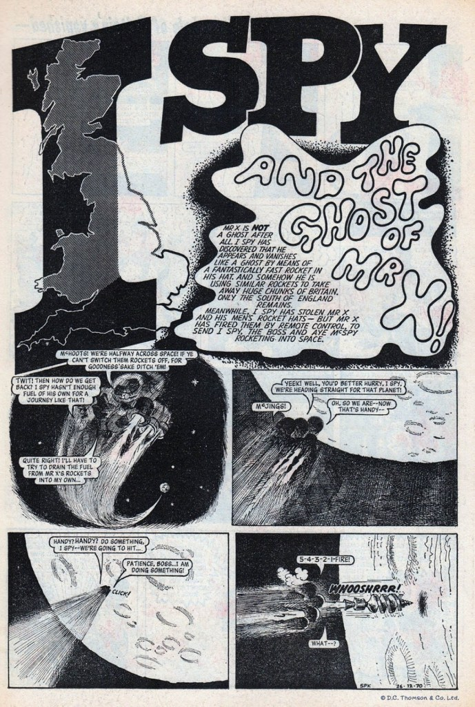 """The opening page of """"I-Spy"""" from the Christmas issue of Sparky in 1970. Art by Brian Walker. With thanks to Lew Stringer"""