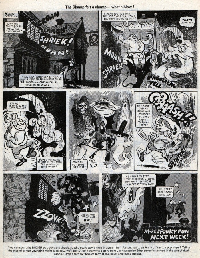 """The first """"Scream Inn"""" tale for Shiver and Shake, published in 1973. Art by Brian Walker. The strip was so popular it was turned into a board game. With thanks to Lew Stringer"""
